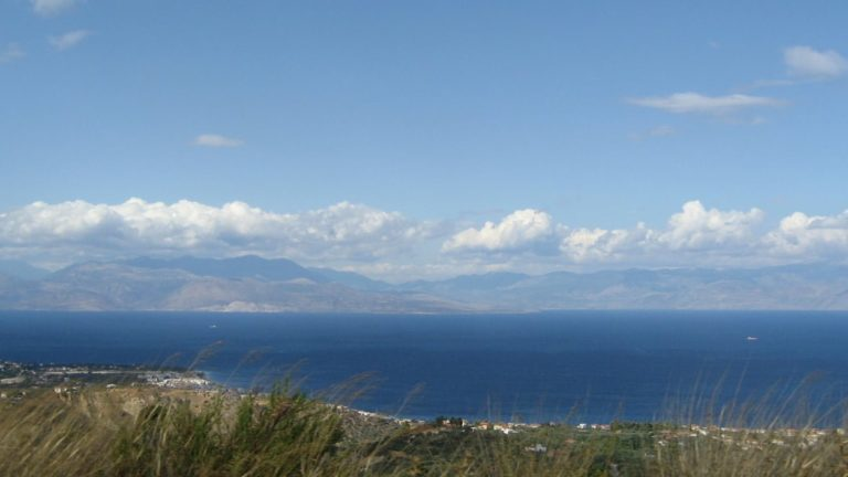 Aigeira - View to Corinthian Gulf from Paliokatona - c. 2008