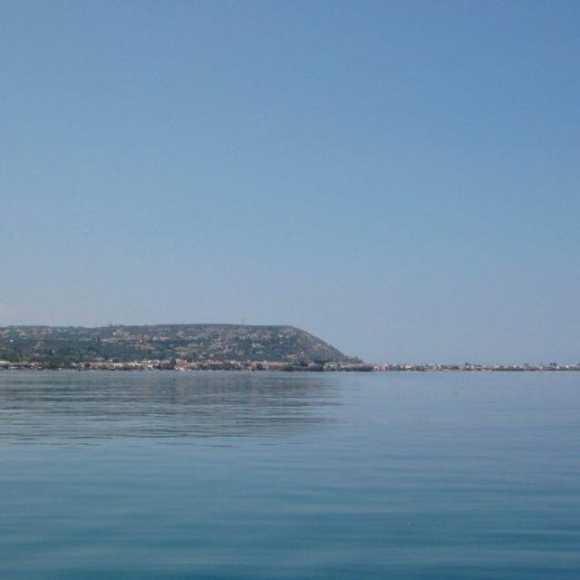 Aigeira - View offshore of river Krios towards Paralia Akratas - Aug 2010