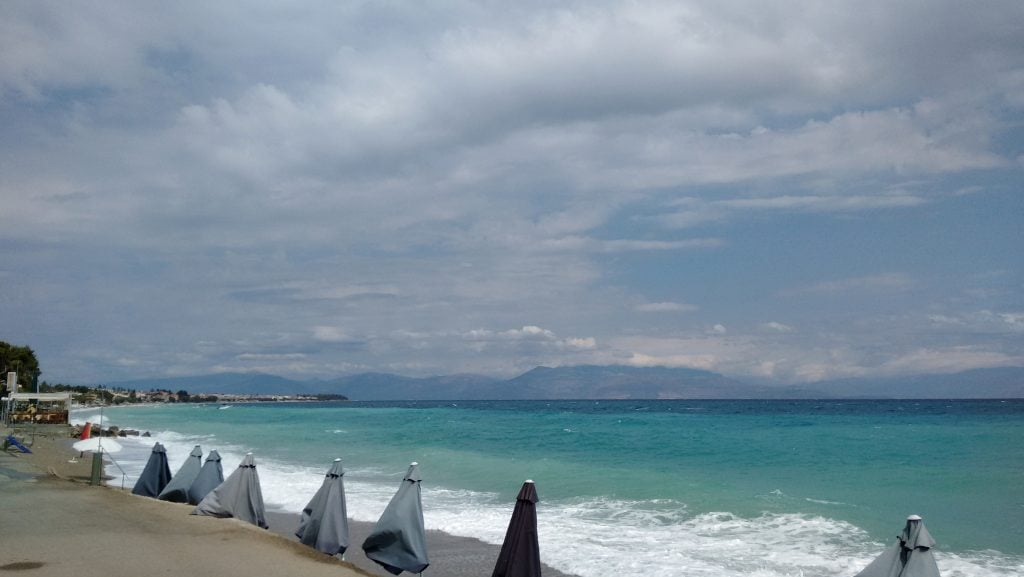 Aigeira - View from Pythari Cafe, sea waves - Aug 2016