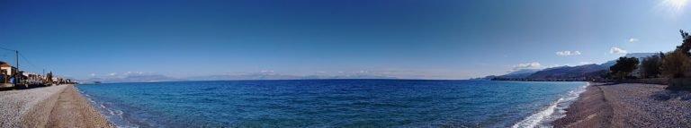 Paralia Akratas - 180 degrees sea panorama from Agia Sotiros Chapel