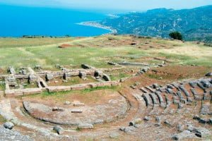 Ancient Theater of Aigeira with Corinthian Gulf in the Background