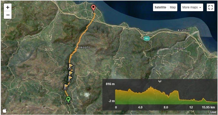 Aigeira - Hiking - Vouraikos Gorge - Ano Zachlorou to Diakofto - Trail Map