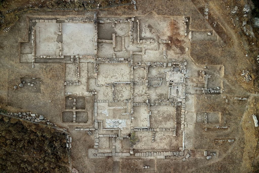 Aigeira - History - Acropolis of Ancient Aigeira - Guesthouse - Aerial View of Excavations